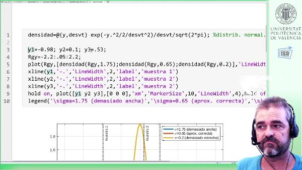 Optimización max-likelihood de parámetros de un modelo probabilístico: ejemplo Matlab (desv. típica)